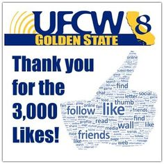 WOW! 3,000+ likes on Facebook, thank you! Please continue to share with your friends and co-workers to keep them informed on what's happening with your Union!  Thanks again and remember, Solidarity Works! http://fb.com/ufcw8 #ufcw8 #ufcw
