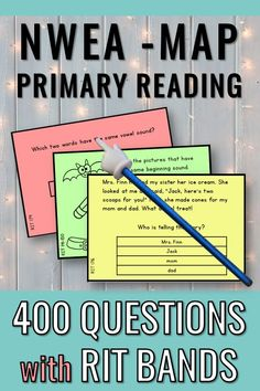 Test Prep for kindergarten and first grade. There are 400 practice cards aligned by RIT Bands with the NWEA-MAP Primary Reading assessment. These cards are intended for quick practice - I use them with my small groups and as warm-ups daily. Test prep can be fun AND effective! An answer key is included. Good luck with the MAP test! #nweamap #ritbands