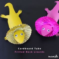 Make a Frilled Neck lizzard from a cardboard tube 👉🏽👉🏽Do you like these Nature Crafts Ideas? for more Nature DIY projects Recycled inspiration?Make a Frilled Neck lizzard from a cardboard tube Cardboard Tube Crafts, Toilet Paper Roll Crafts, Paper Crafts, Cardboard Playhouse, Paper Art, Animal Crafts For Kids, Craft Activities For Kids, Art For Kids, Kids Fun