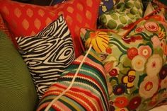 Throw fun fabrics together Eclectic Dining Chairs, Pattern Mixing, Fabric Patterns, Throw Pillows, Cinder Blocks, Blog, Crafts, Boho Chic, Bedrooms