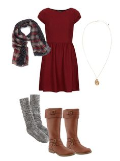 Casual dress. I love the plaid and polka dot scarf! It completes the outfit.