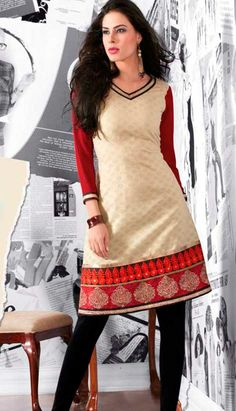 Cream Poly Cotton Blended  Georgette Kurti