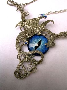 Gothic Dragon Evil Eye Steampunk GLOW - Choker or Necklace - Silver sky blue teal  - OOAK - Super Color shift #provestra