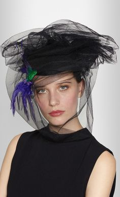 PIERS ATKINSON Embroidered felt and tulle beret