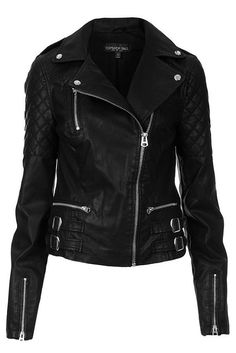 Black Long Sleeves Leather Biker Jacket