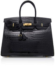 7e298f929bed Hermes Vintage by Heritage Auctions 35cm Black Porosus Crocodile Birkin - ShopStyle  Bags