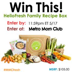 Enter to win this HelloFresh Family Box of 3 fresh pre-measured dinner recipes for a family of four from @metromomclub #giveaway #MMCFresh