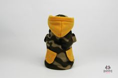 Camouflage sweatshirt with yellow wool insert and swarovski. The cap is removable