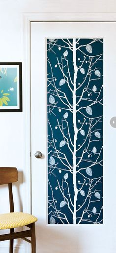 Make a Dramatic Door with Thibaut wallpaper!