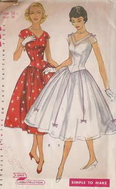 Vintage 1950's Misses'  Dress Pattern Long by CottageLaneTreasures, $15.00