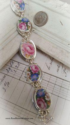 Amelia Rose Broken China Jewelry Oval Link Sterling Silver Bracelet