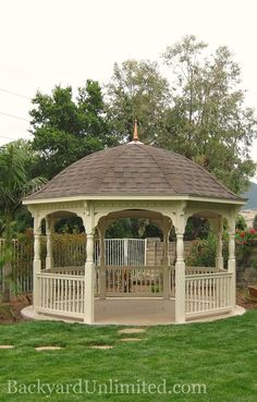 14' Ivory Colonial Style Octagon Gazebo with Bell Roof and Turned Posts http://www.backyardunlimited.com/gazebos.php