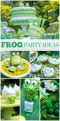 What a fun Frog birthday party with an amazing dessert table and treats for the guests!  See more party ideas at CatchMyParty.com!