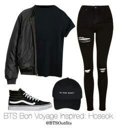 Hiatus — BTS Bon Voyage Inspired (Requested by. Kpop Fashion Outfits, Teen Fashion, Korean Fashion, Girl Outfits, Korean Outfits Kpop, Mode Kpop, Mode Grunge, Bts Clothing, Bts Inspired Outfits
