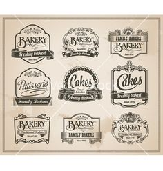 Vintage retro bakery label set vector 2170810 - by rtguest on VectorStock�