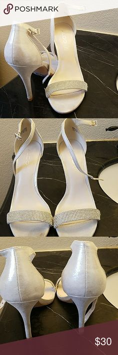 Rhinestone strappy heels Worn once. Traditional strappy heel with a strap of bling Aldo Shoes Heels