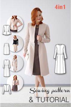 4-in-1 Transformable Coat Sewing Pattern - Coat Patterns - Jacket Patterns - Bolero Pattern - Skirt Patterns - Blazer Pattern - Sewing Tutorials - Sewing E-book