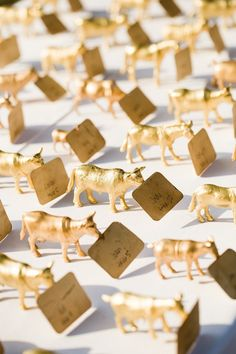 spray painted gold plastic animal seating cards