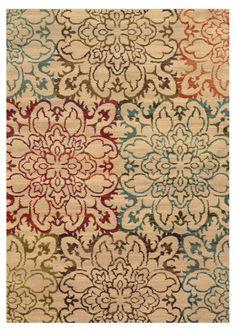 Maupin Geometric Floral Beige Rug