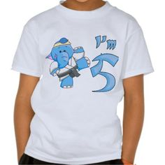 Elephant Karate 5th Birthday Shirt:  Exclusive Kewlkids design! Cute martial arts theme fifth birthday design featuring a cute blue elephant kicking in martial arts fashion. Available on kids birthday t-shirts creepers, buttons, totebags, stickers, invitations, postage and more. Perfect for Karate, Kung Fu, Tae Kwon Do, Kickboxing, Judo, Ju Jutsu, etc. #karate #kids #birthday #elephant #martialarts #shirt