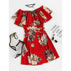 Floral Print Layered A Line Dress With Belt ($12) ❤ liked on Polyvore featuring dresses, red, red dress, romwe, short a line dresses, a-line dresses, red floral dress, short red dress and short-sleeve dresses