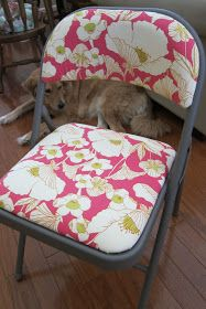 Best reupholstered folding chair tutorial! Lots of helpful details!   Adventures at the Orange Door Inn: The Truth About Crafts (and Dogs)