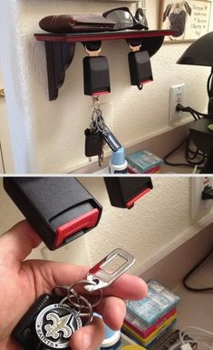 DIY seatbelt key holder! He would live this, but sorry can't have it lol