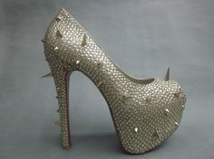 Christian Louboutin Very Prive Spikes Silver Pumps