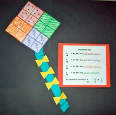 Love these equivalent fraction kites. I would change it to ask them to colour 1/4 etc as well.