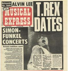 May 6th 1972 NME Cover T.Rex Dates