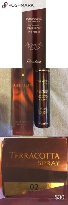 Guerlain Terracotta spray Bronzing powder mist, SPF 10, 02 medium, 130 applications, like new, tried once. Guerlain Makeup Bronzer