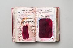 Dieter Roth, Notebook, 1967 (detail)   Apart from the video installation, the Roth exhibition at Fruitmarket Gallery is full of books. Notebooks with their pages opened reveal bursts of red ink or spill forth with every idea and fantasy that ever filled the artist's head. Here, Roth's original diaries rightly become works of art
