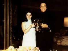 "May 01, 1968 Elvis and Priscilla had their first wedding anniversary. It was catered by the Deli Restaurant at the house. Priscilla received flowers from Elvis with a card saying: ""Love, Elvis."""
