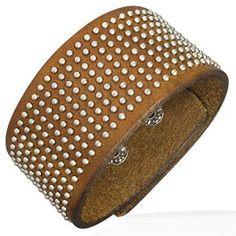 Náramek na ruku z kůže s malými kulatými nýty