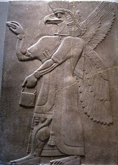 Relief depicting the eagle-headed Assyrian god Nisroch (the word for eagle in Arabic is Nisr) on the walls of the Northwest Palace of king Ashurnasirpal II in Nimrud (883-859 BCE). The god Nisroch is associated with the Assyrian king Sennacherib, who conquered and destroyed Babylon. The Metropolitan Museum of Art, New York City, NY. Photo by Babylon Chronicle