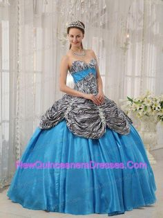 43cb9572386 ... dresses with zebra and ruffles in aqua blue from popular quinceanera  gowns shop