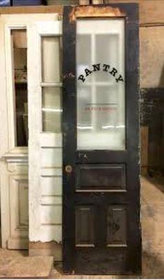Antique door, salvaged door, old door, pantry door - pantry redo Antique Interior, Décor Antique, Rustic Interior Doors, Antique Jewelry, Antique French Doors, Kitchen Pantry Doors, Kitchen Pantry Design, Rustic Pantry Door, Corner Pantry Cabinet