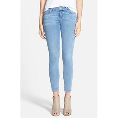 Paige Denim 'Transcend - Verdugo' Ankle Ultra Skinny Jeans ($183) ❤ liked on Polyvore featuring jeans, joelle, faded jeans, skinny jeans, paige denim, ankle zipper skinny jeans and frayed jeans