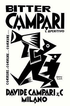 """Bitter Campari - Fortunato Depero """"Correre ... Correre ... Correre ... """" - 1927"""