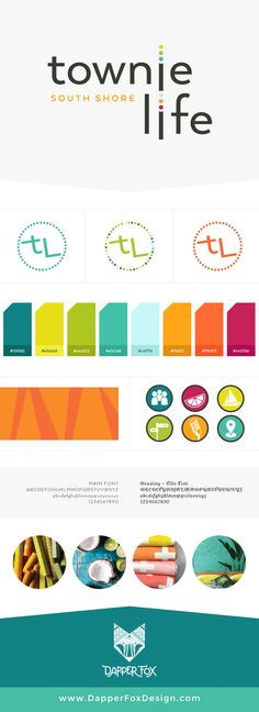 Logo Design and Branding Board for Townie Life Magazine and Lifestyle Blog of South Shore Florida - Logo, Blog and Website Design by Dapper Fox in Park City, Utah. Bright - Colorful - Modern - Tropical - Turquoise - Orange