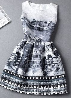full skirt dress with a prints that reminds me of Paris. very unique!