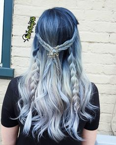 blue and white braided hair