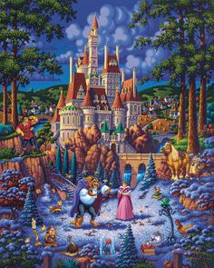 Beauty and the Beast Finding Love – Limited Edition Print - Dowdle Folk Art - Disney Belle Gaston Disney Love, Disney Magic, Disney Art, Disney Belle, Disney Collage, Images Disney, Disney Pictures, Gaston Beauty And The Beast, Chateau Disney