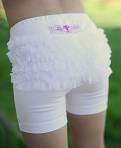 Rufflebutts -- White Playground Shorts --I need these for under G's sundresses...especially if I want to send her to school in a dress!