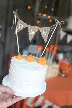 """Tons of ideas for an adorable """"Our Little Pumpkin"""" birthday party!  www.InvitationCelebration.com Pumpkin Patch Birthday, Pumpkin Birthday Parties, Pumpkin First Birthday, Pumpkin Patch Cake, Halloween First Birthday, Halloween Smash Cake, Pumpkin Birthday Cakes, Halloween Birthday Cakes, Baby Girl First Birthday"""