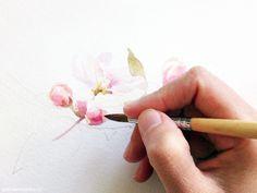 Watercolor calendar - bloom, apple flowers - process by Polina Khoronko. #watercolor