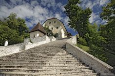 Stairs lead to the Church of the Assumption of Mary on Bled Island, Lake Bled, Slovenia