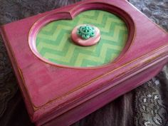 A personal favorite from my Etsy shop https://www.etsy.com/listing/197922968/pink-and-mint-chevron-girls-jewelry-box
