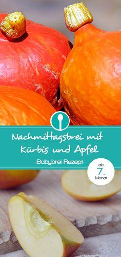 Babybrei mit Kürbis und Apfel. Kürbis bringt Abwechslung in dieses Rezept für Nachmittagsbrei. Geeignet für Babys ab dem 7. Monat.