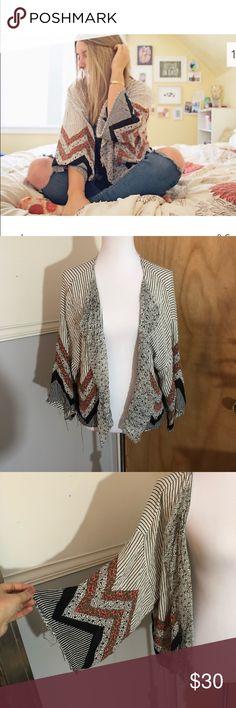 Free people kimono FP striped kimono with floral printed chevron detail size M/L Free People Jackets & Coats